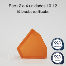 Mascarilla higiénica reutilizable Amarillo Infantil UNE 0065 y CWA 17553  Pack 2 o 4 ud