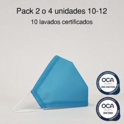 Mascarilla higiénica reutilizable Azul Infantil UNE 0065 y CWA 17553  Pack 2 o 4 ud
